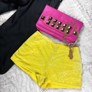 Yellow Sequin shorts with pockets